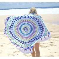 Tassel Round Beach Towel Cotton Tablecloth Beach Towel Round Yoga Mat Tapestries Wall Hanging