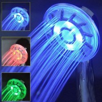 3 Colors LED Shower Head Changing Light Water Temperature Rainfall Hand-held New