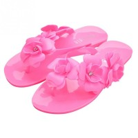 Womens Camellia Flower Flat Slippers Sandal Summer Jelly Comfortable Beach Slippers Shoe
