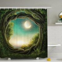 Creative Flower Fantasy Digital Printing Polyester Shower Curtain Waterproof Family Bathroom With Shower Curtain Hooks