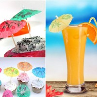 Creative Paper Flowers to Decorate A Small Umbrella Sign DIY Accessories for Cake Fruit Ice Creams Cocktails