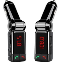 Bluetooth Wireless In-Car FM Transmitter with Dual USB Charging, Music Control, Card Reading + AUX Input and Hands-Free Calling for Smartphones and Tablets