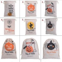 Halloween 6 style Halloween Canvas Cotton Personalized Candy Gifts Bag Party Pumpkin Spider treat trick Drawstring Bags Pouch bag