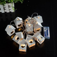 10 Lamp Wood House LED String Warm White For Wedding Party Fairy Lights Christmas Garlands Christmas Outdoor Decoration
