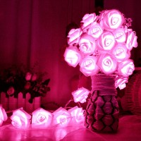 20 x LED Novelty Rose Flower Fairy String Lights Wedding Garden Party Christmas Decoration 8 Color Night Light Nightlight