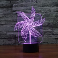 (Free shipping) Touch Switch 7 Colors Changing Windmill Night light 3D Visual LED Lamp