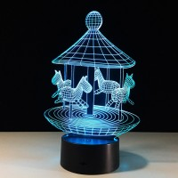 Free Shipping 7 Colors Changing Touch Switch 3D LED Lamp Beside Lamp(Carousel)