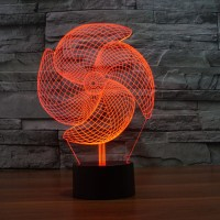 (Free shipping) Touch Switch 7 Colors Changing Windmill 01 Night light 3D Visual LED Lamp