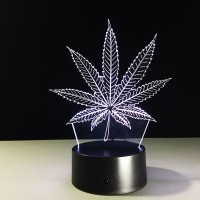 Free Shipping 7 Colors Changing Touch Switch 3D LED Lamp Beside Lamp(leaf)