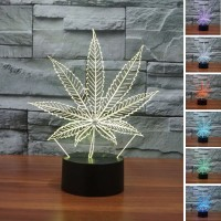 (Free shipping) Touch Switch 7 Colors Changing Leaf Night light 3D Visual LED Lamp