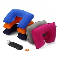 U inflatable pillow flocking air travel rest pillow eye shield  earplugs three sets