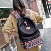 2017 Creative Bag Middle School Students backpack striped Womens canvas bag black canvas bag