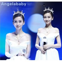 baby In same crown Korean married princess crown pearl wedding dress accessories