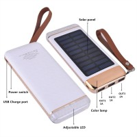KEJEAPortable Power Bank 10000 mAh, Emergency Solar Charger, Slim External Battery with LED, Color Lamp and Three USB Output for Cell Phone, iPad, Tablet, Camera and 5V USB Devices
