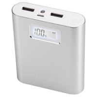 KEJEA  Portable Charger 10000mAh Premium Power Bank External Charger Battery 2 USB Port LED Display for iPhone 7/7 Plus/SE/6S/6S Plus/6/6 Plus/Google Pixel/Galaxy S7 Edge and More - Silver