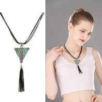 Europe and the United States exaggerated retro exaggerated leather rope necklace triangle geometry turquoise fringed sweater chain