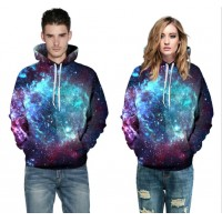 3D Hoodies  2017 Boy's Novelty Streetwear 3D Couples purple dazzling star printing belt pocket Hooded hoodies.