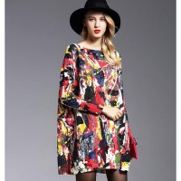 sweater dress 2017 Fashion New disorderly painting Printed Western pullover loose sweater Ladies casual sweater dresses.