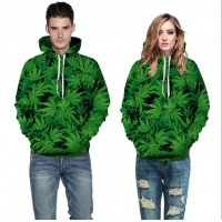 3D Hoodies  2017 Boy's Novelty Streetwear 3D Couples a piece of green printing belt pocket Hooded hoodies.