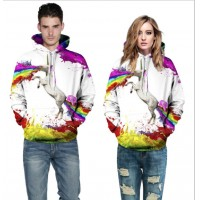 3D Hoodies  2017 Boy's Novelty Streetwear 3D Couples horse's painting printing belt pocket Hooded hoodies.