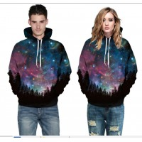3D Hoodies  2017 Boy's Novelty Streetwear 3D Couples purple star printing belt pocket Hooded hoodies.