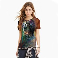Women 3D T-Shirt 2017 girl fashion Star tiger head printing new sexy slim breathable T-shirt .