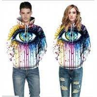 3D Hoodies  2017 Boy's Novelty Streetwear 3D Couples white eyes printing belt pocket Hooded hoodies.