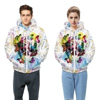 3D Cardigan Hoodies  2017 Boy's Novelty Streetwear 3D Colorful butterfly skull Couples printing belt pocket Hooded hoodies.