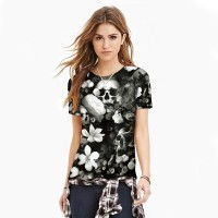 Women 3D T-Shirt 2017 girl fashion white flowers skull printing new sexy slim breathable T-shirt .