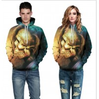 3D Hoodies  2017 Boy's Novelty Streetwear 3D Couples long hair of skulls printing belt pocket Hooded hoodies.