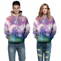 3D Hoodies  2017 Boy's Novelty Streetwear 3D Couples purple love printing belt pocket Hooded hoodies.