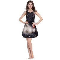 Women dress 2017 Summertime Fashion slim pleated skirt 3D digital starry sky printing dress.