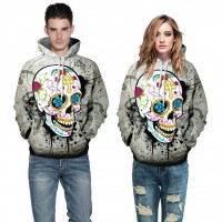 3D Hoodies  2017 Boy's Novelty Streetwear 3D fashion design and colour skull Couples printing belt pocket Hooded hoodies.