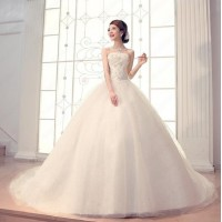 2017Wedding dress Women Fashion new Lace pierced Slim White Gown Wedding dress