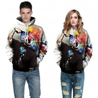3D Hoodies  2017 Boy's Novelty Streetwear 3D Couples Clown printing belt pocket Hooded hoodies.