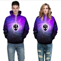 3D Hoodies  2017 Boy's Novelty Streetwear 3D Couples black and purple printing belt pocket Hooded hoodies.