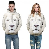 3D Hoodies  2017 Boy's Novelty Streetwear 3D white lion Couples printing belt pocket Hooded hoodies.