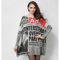 Sweater dress 2017 Fashion newspaper design New Letter pullover loose sweater Ladies casual sweater dresses.
