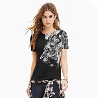 Women3D T-Shirt  2017 girl fashion black lion print new sexy slim breathable 3d sweatshirt.