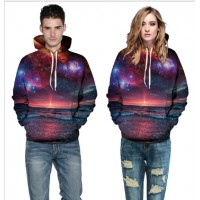 3D Hoodies  2017 Boy's Novelty Streetwear 3D Couples purple sunset printing belt pocket Hooded hoodies.