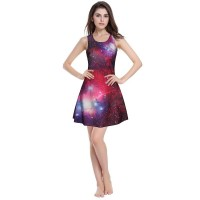 Women dress 2017 Summertime Fashion slim pleated skirt 3D digital starry sky purple printing dress.