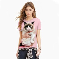 Women 3D T-Shirt 2017 girl fashion cat printing new slim sexy pink color T-shirt
