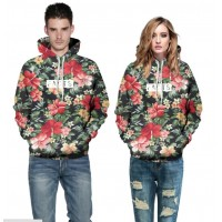 3D Hoodies  2017 Boy's Novelty Streetwear 3D Couples Qi flowers in full bloom printing belt pocket Hooded hoodies.