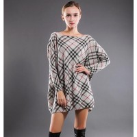 Sweater dress 2016 Fashion Large lattice New Plaid pullover loose sweater Ladies casual sweater.