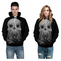 3D Hoodies  2017 Boy's Novelty Streetwear 3D Couples Black skulls Printing belt pocket Hooded hoodies.