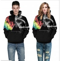 3D Hoodies 2017 Boy's Novelty Streetwear 3D Couples Black triangle printing belt pocket Hooded hoodies.