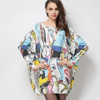 Sweater dress 2016 Fashion anime New Printed pullover loose smiling face sweater Ladies casual sweater.