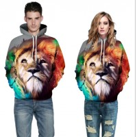 3D Hoodies  2017 Boy's Novelty Streetwear 3D Couples Red lion Printing belt pocket Hooded hoodies.
