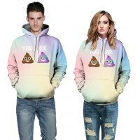 3D Hoodies  2017 Boy's Novelty Streetwear 3D Couples poo also have love printing belt pocket Hooded hoodies.