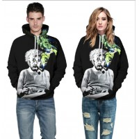 3D Hoodies  2017 Boy's Novelty Streetwear 3D Couples Black leisurely printing belt pocket Hooded hoodies.